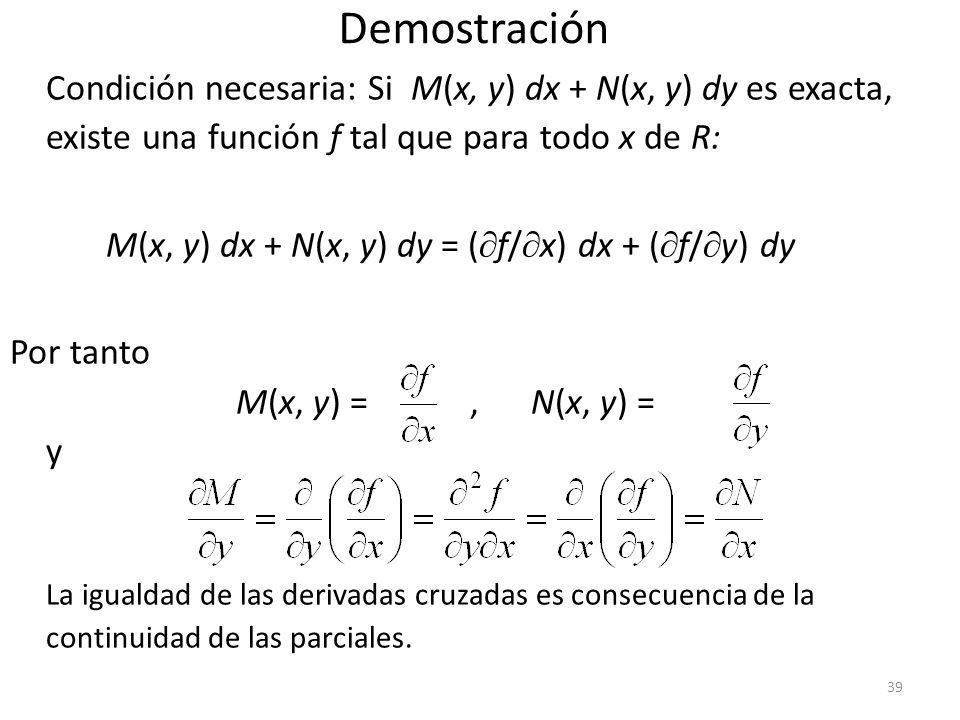 Demostración Condición necesaria: Si M(x, y) dx + N(x, y) dy es exacta, existe una función f tal que para todo x de R: