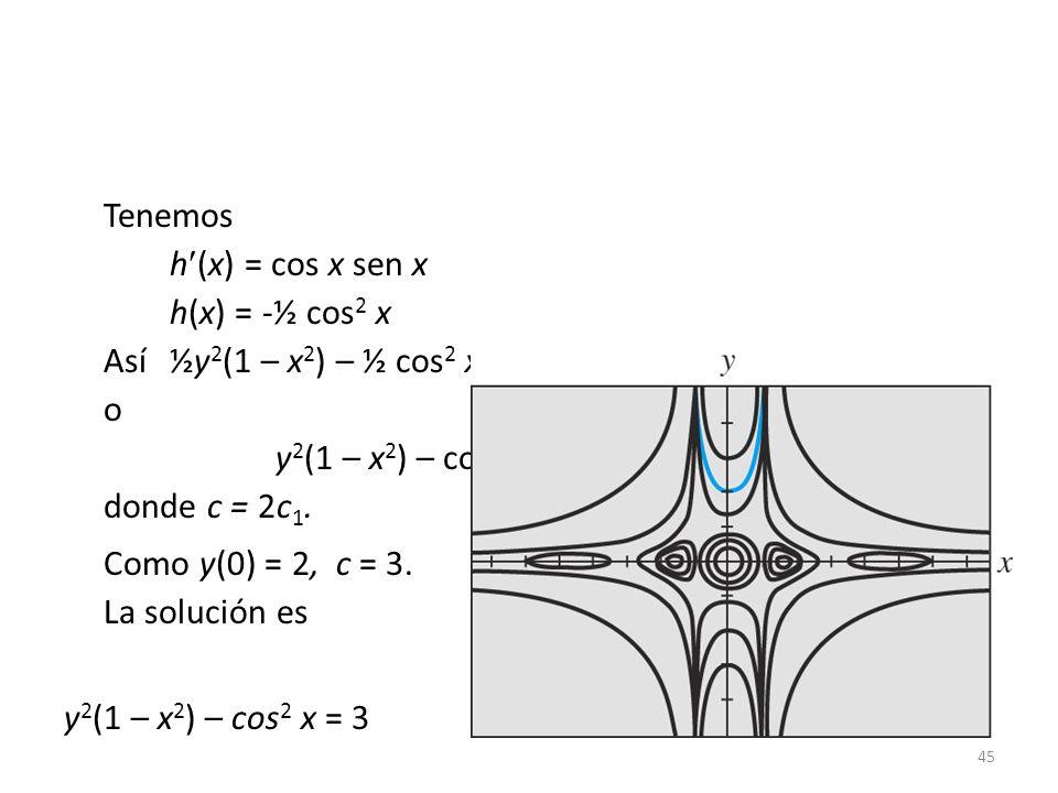 Como y(0) = 2, c = 3. La solución es