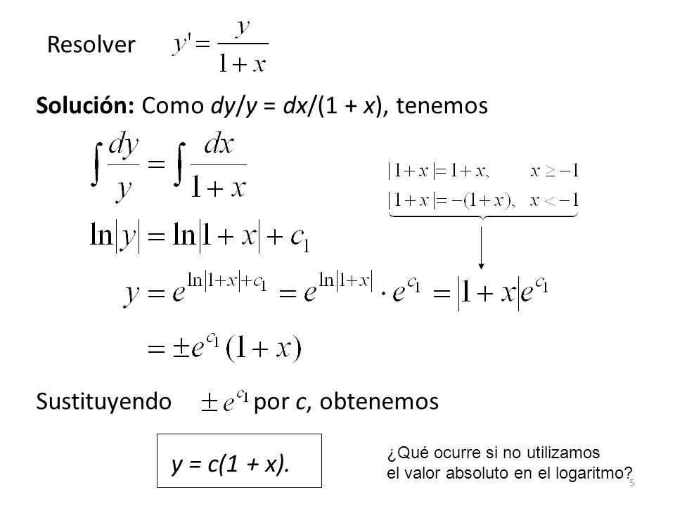 Solución: Como dy/y = dx/(1 + x), tenemos