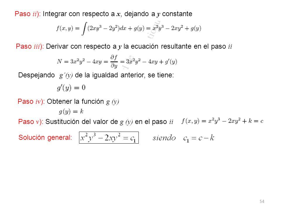 Paso ii): Integrar con respecto a x, dejando a y constante