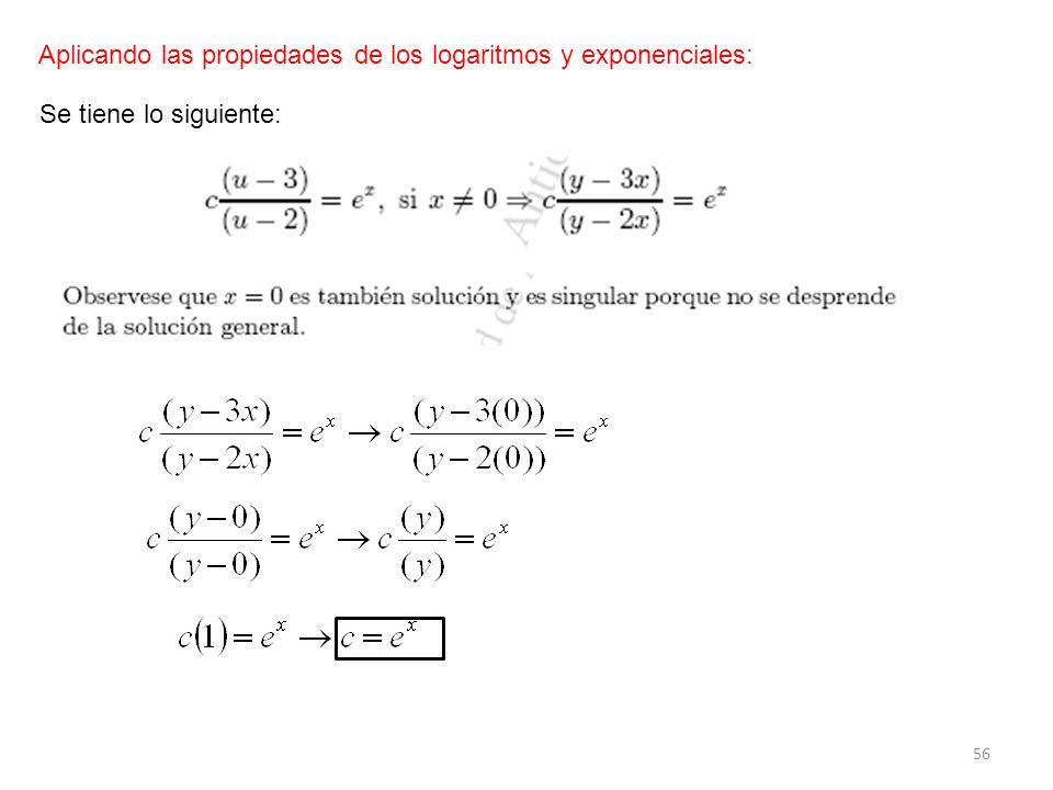 Aplicando las propiedades de los logaritmos y exponenciales: