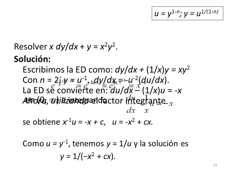 u = y1-n; y = u1/(1-n) Resolver x dy/dx + y = x2y2.