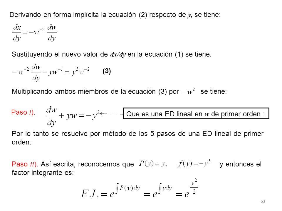 Derivando en forma implícita la ecuación (2) respecto de y, se tiene: