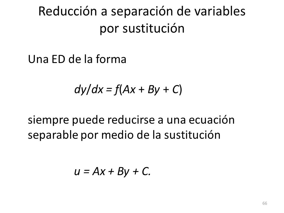 Reducción a separación de variables por sustitución