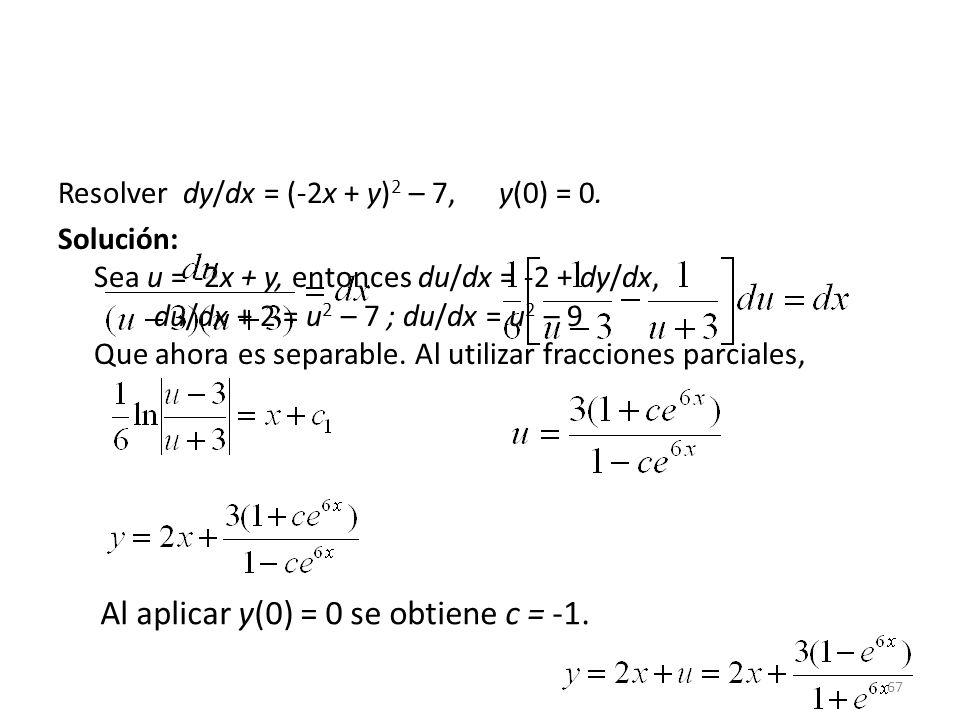 Al aplicar y(0) = 0 se obtiene c = -1.
