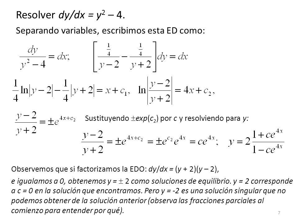 Resolver dy/dx = y2 – 4. Separando variables, escribimos esta ED como: