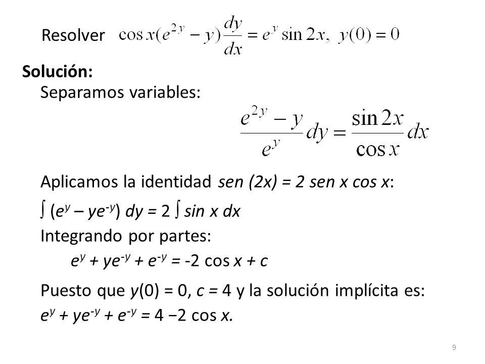 Resolver Solución: Separamos variables: Aplicamos la identidad sen (2x) = 2 sen x cos x: