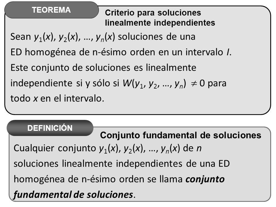Sean y1(x), y2(x), …, yn(x) soluciones de una