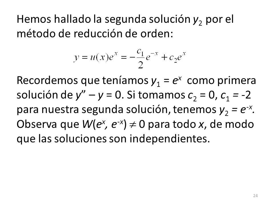 Hemos hallado la segunda solución y2 por el método de reducción de orden: