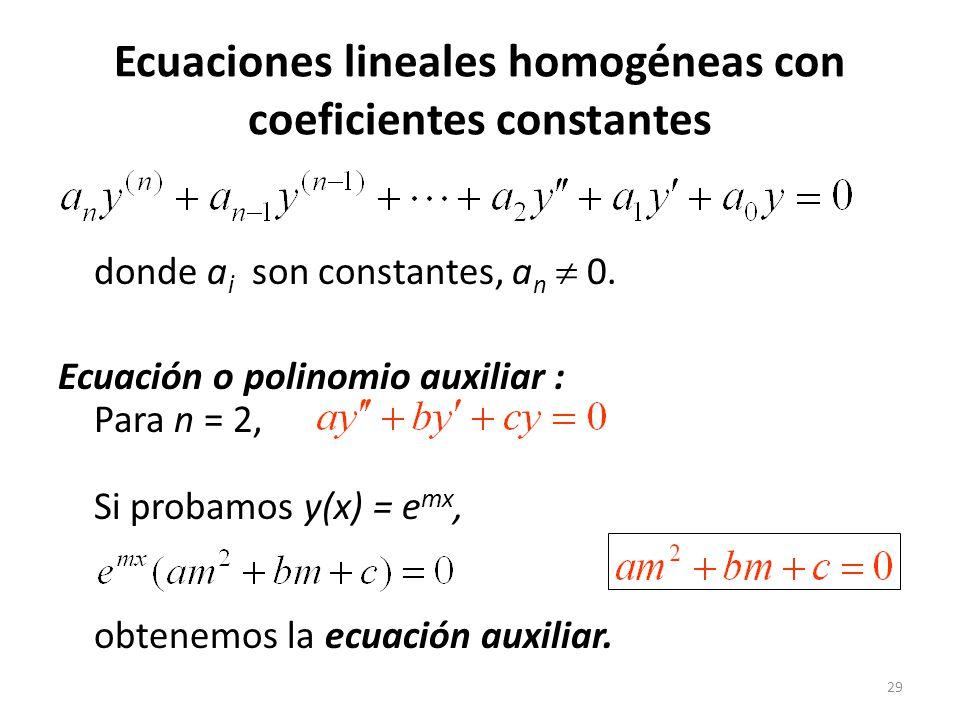 Ecuaciones lineales homogéneas con coeficientes constantes