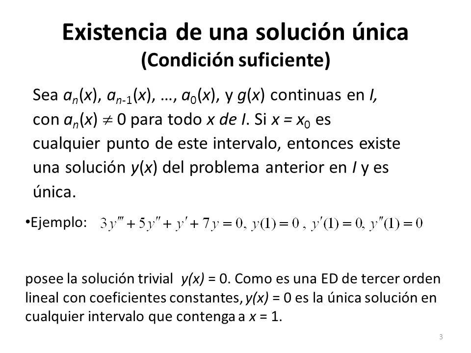 Existencia de una solución única (Condición suficiente)