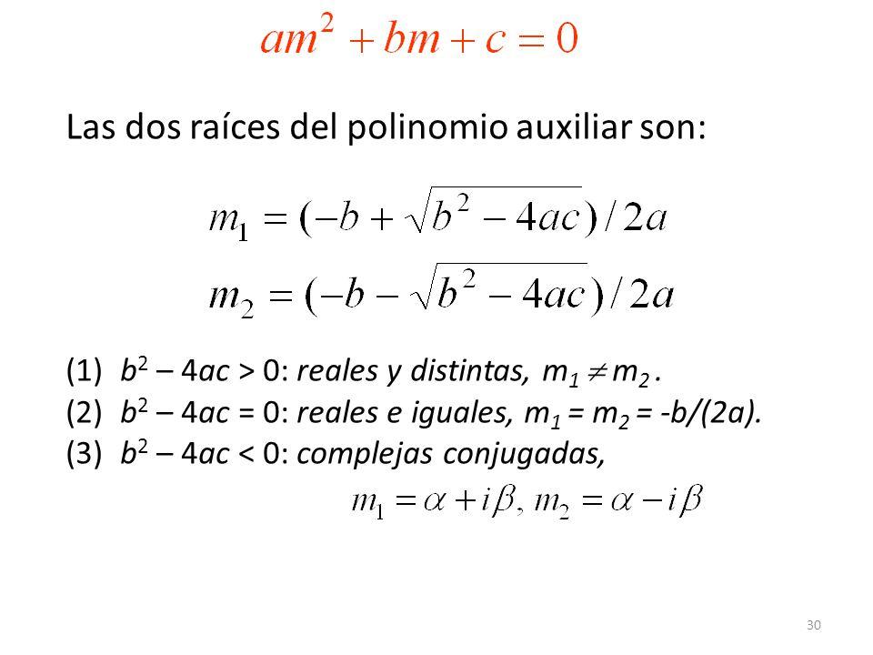 Las dos raíces del polinomio auxiliar son: