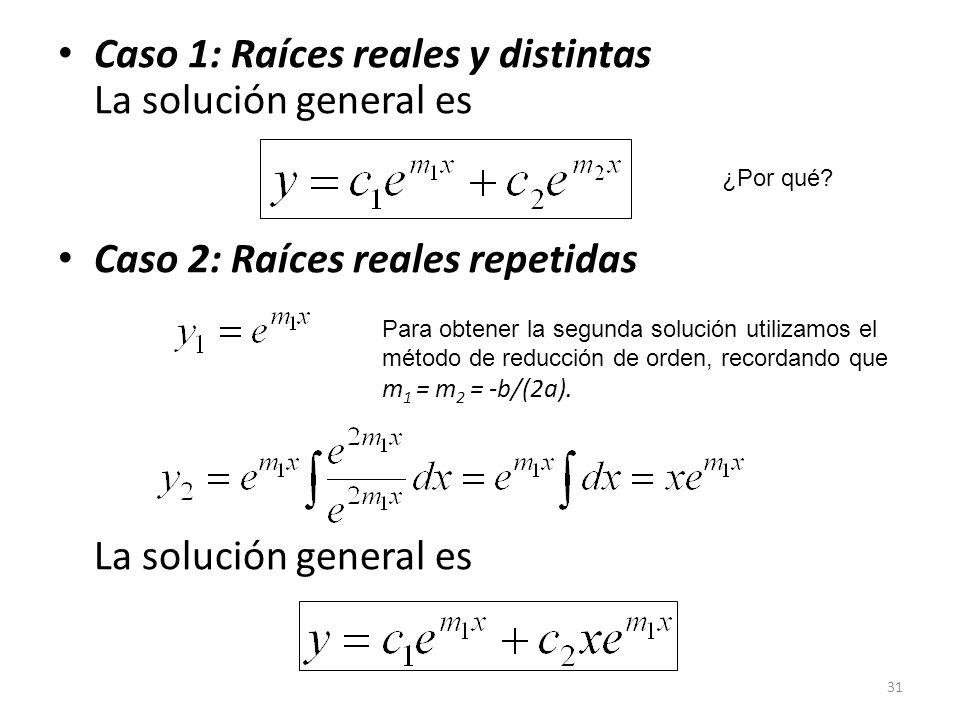 Caso 1: Raíces reales y distintas La solución general es