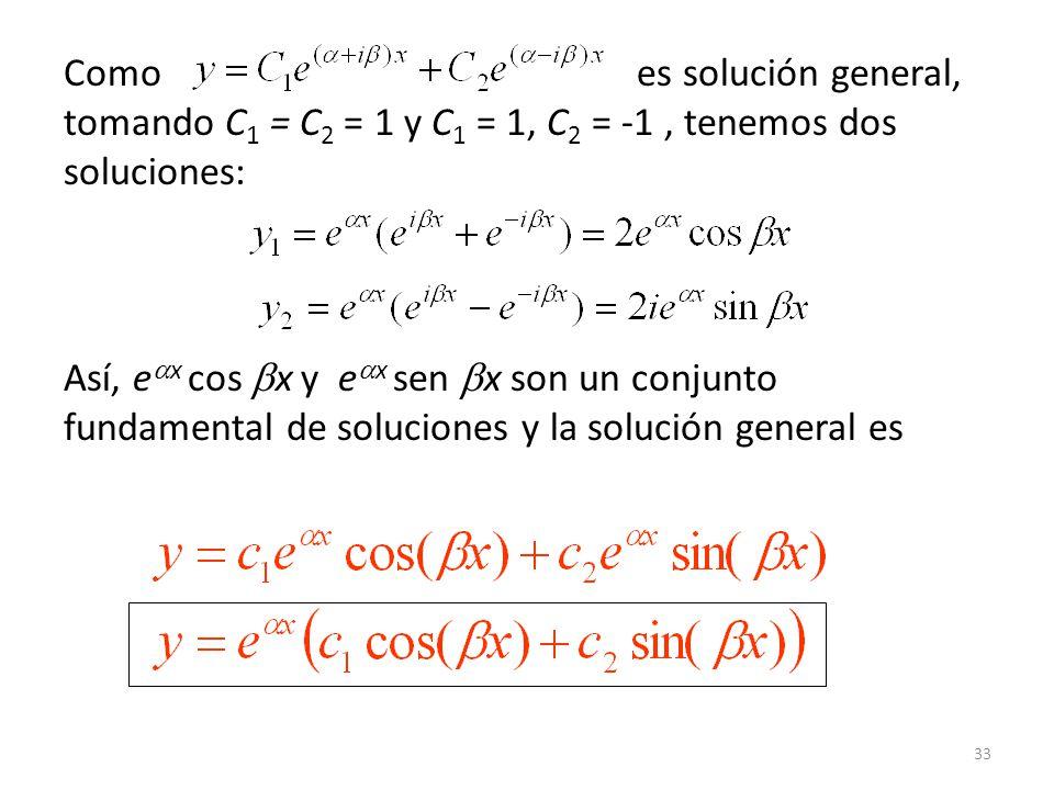 Como es solución general, tomando C1 = C2 = 1 y C1 = 1, C2 = -1 , tenemos dos soluciones: