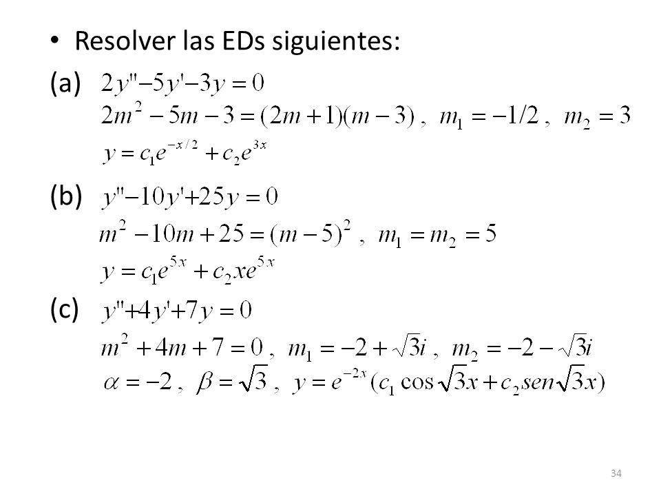 Resolver las EDs siguientes: