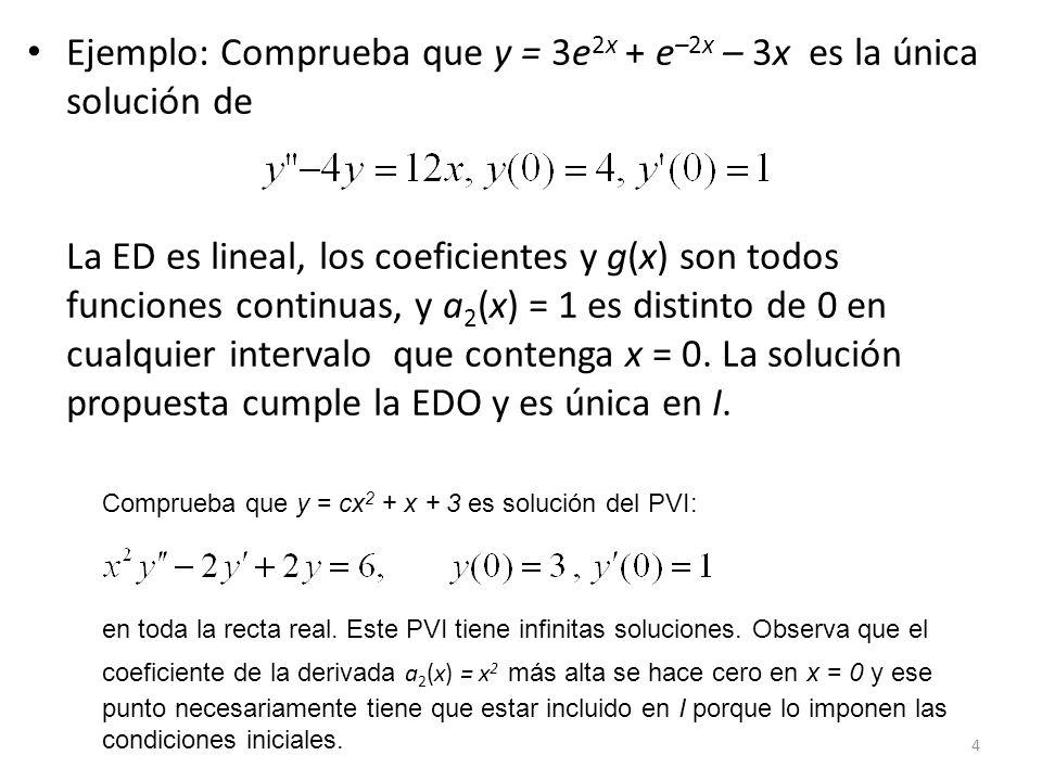 Ejemplo: Comprueba que y = 3e2x + e–2x – 3x es la única solución de