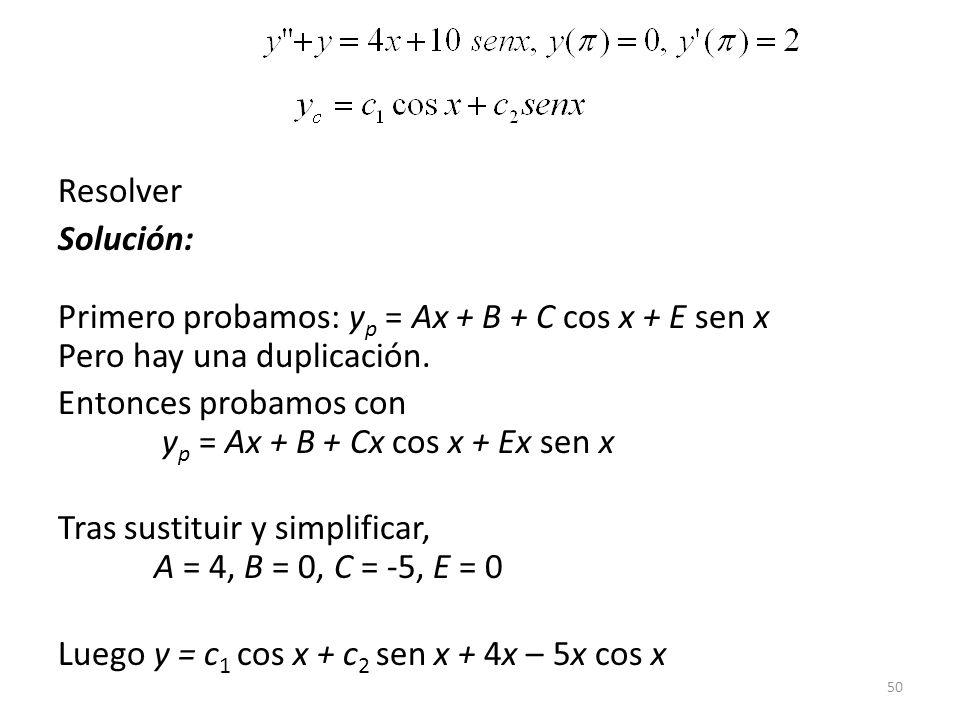 Resolver Solución: Primero probamos: yp = Ax + B + C cos x + E sen x Pero hay una duplicación.
