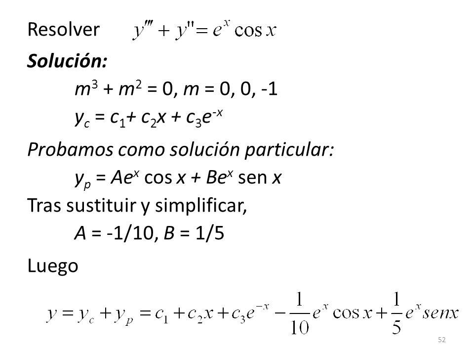 Resolver Solución: m3 + m2 = 0, m = 0, 0, -1 yc = c1+ c2x + c3e-x.