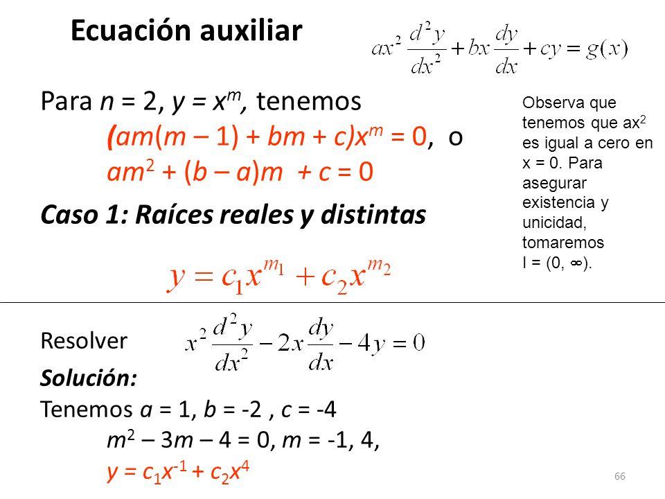 Ecuación auxiliar Para n = 2, y = xm, tenemos (am(m – 1) + bm + c)xm = 0, o am2 + (b – a)m + c = 0.
