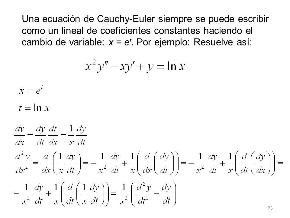 Una ecuación de Cauchy-Euler siempre se puede escribir como un lineal de coeficientes constantes haciendo el cambio de variable: x = et.