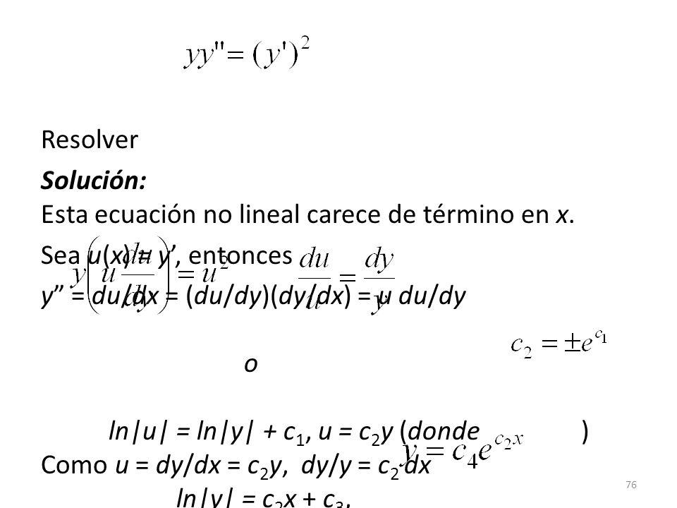 Resolver Solución: Esta ecuación no lineal carece de término en x. Sea u(x) = y', entonces.