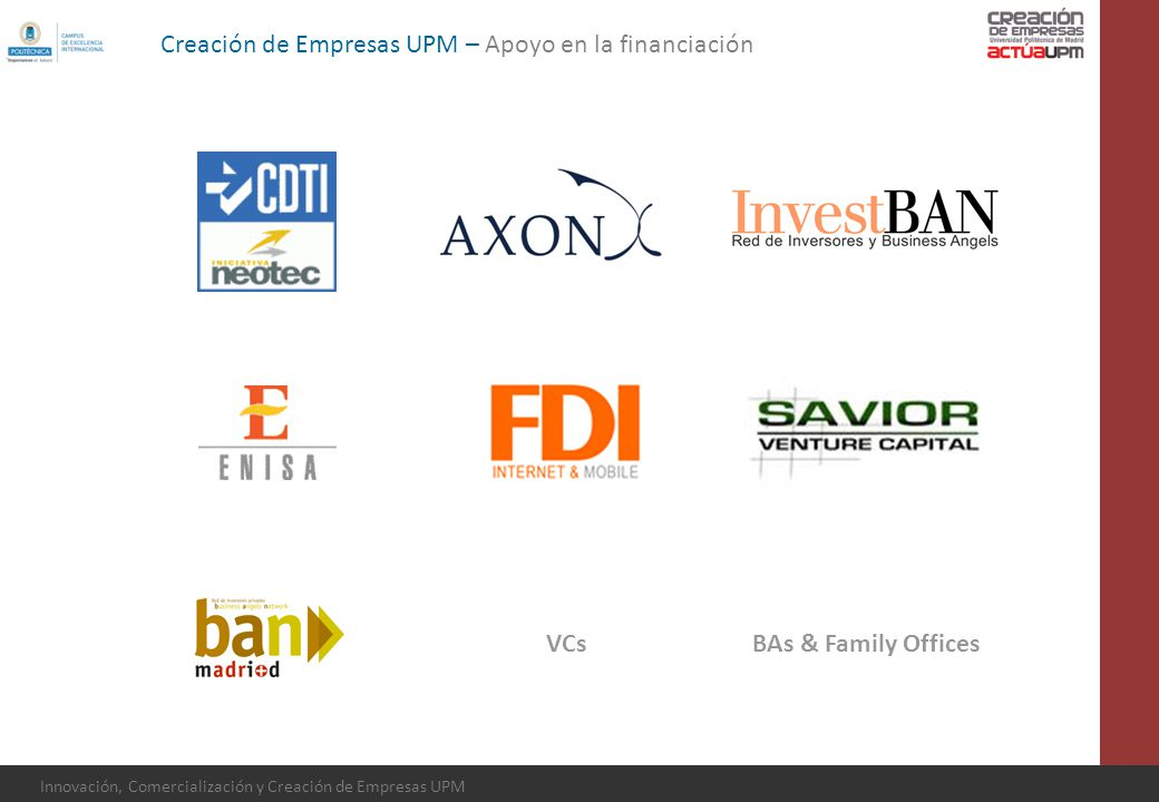 Creación de Empresas UPM – Apoyo en la financiación