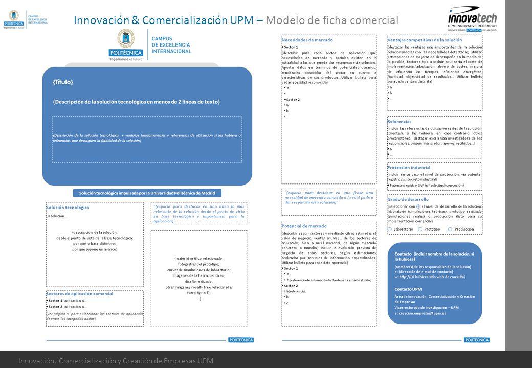 Innovación & Comercialización UPM – Modelo de ficha comercial