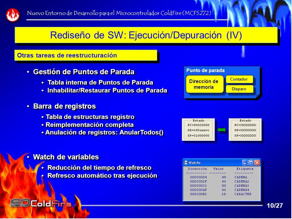 Rediseño de SW: Ejecución/Depuración (IV)