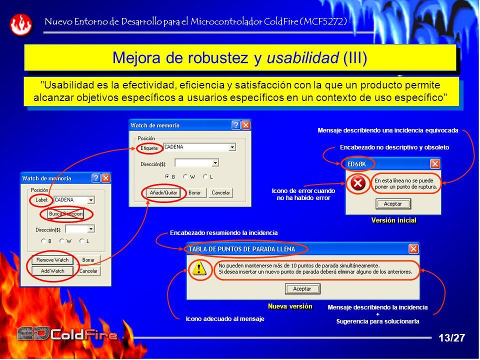 Mejora de robustez y usabilidad (III)