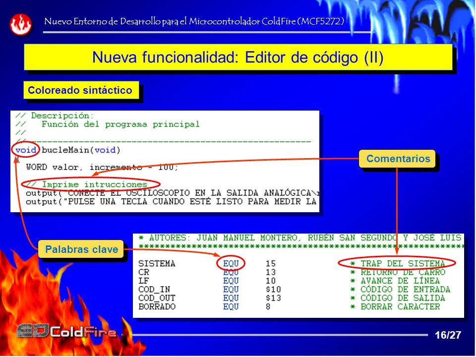 Nueva funcionalidad: Editor de código (II)