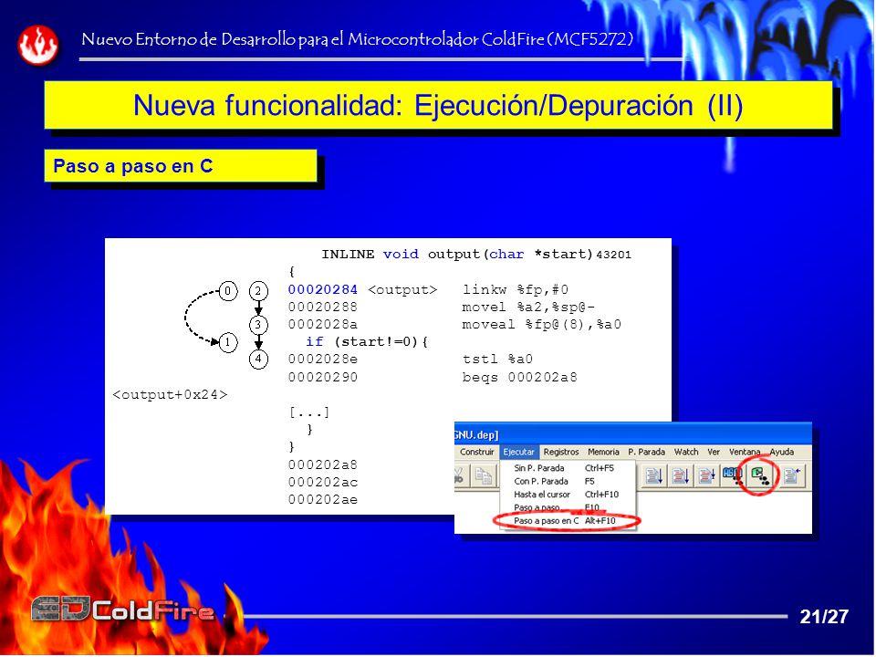 Nueva funcionalidad: Ejecución/Depuración (II)