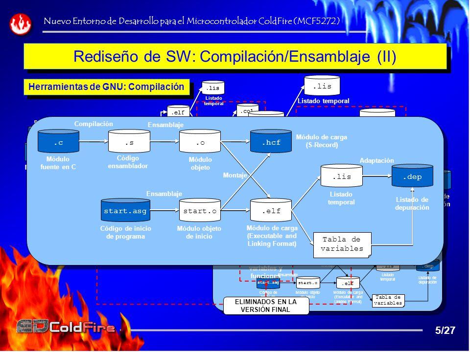 Rediseño de SW: Compilación/Ensamblaje (II)