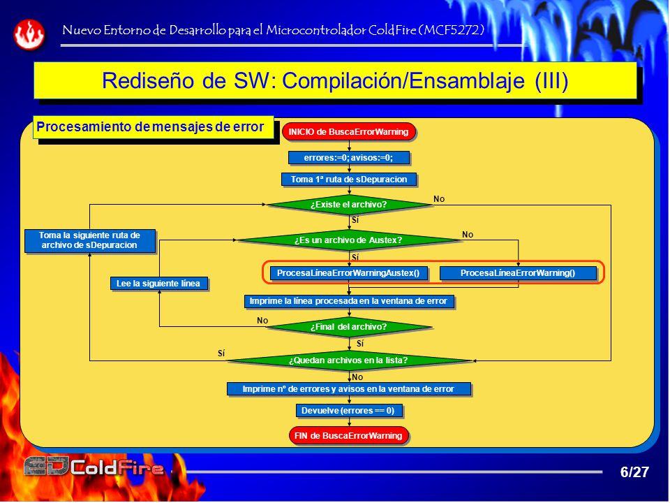 Rediseño de SW: Compilación/Ensamblaje (III)