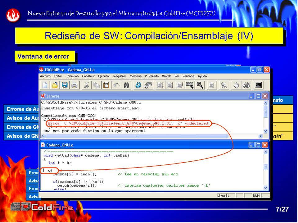Rediseño de SW: Compilación/Ensamblaje (IV)