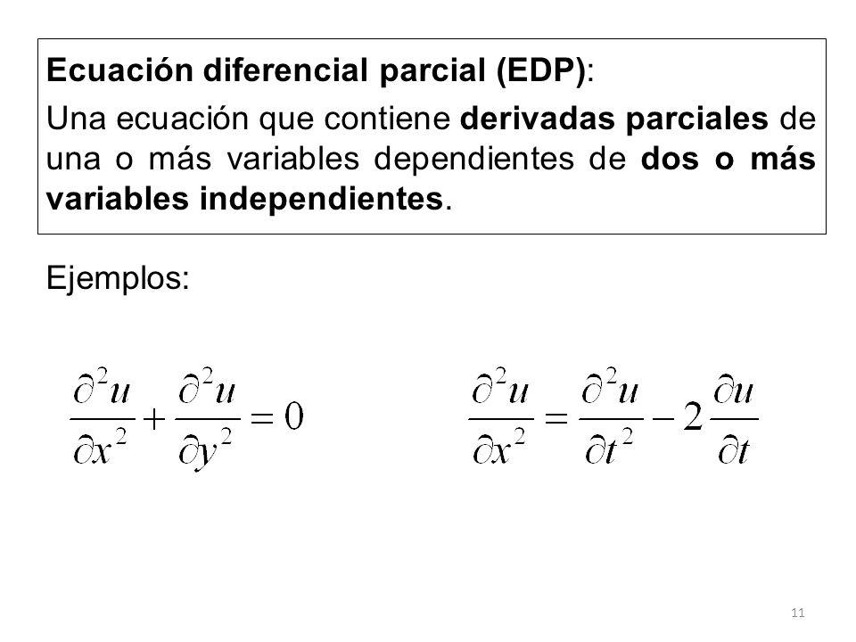 Ecuación diferencial parcial (EDP):