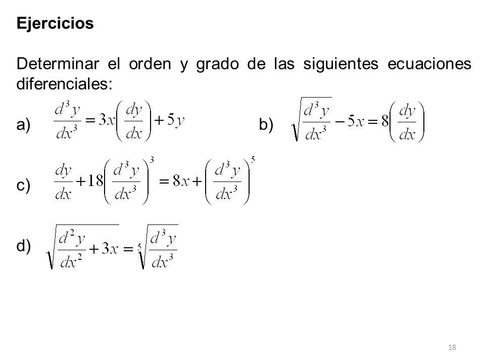 Ejercicios Determinar el orden y grado de las siguientes ecuaciones diferenciales: a) b) c) d)