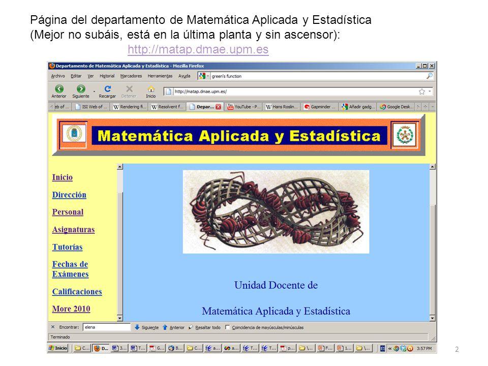 Página del departamento de Matemática Aplicada y Estadística
