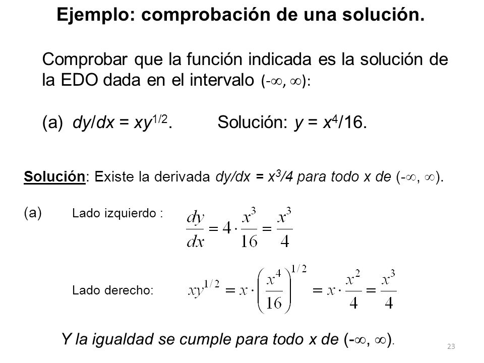 Ejemplo: comprobación de una solución.