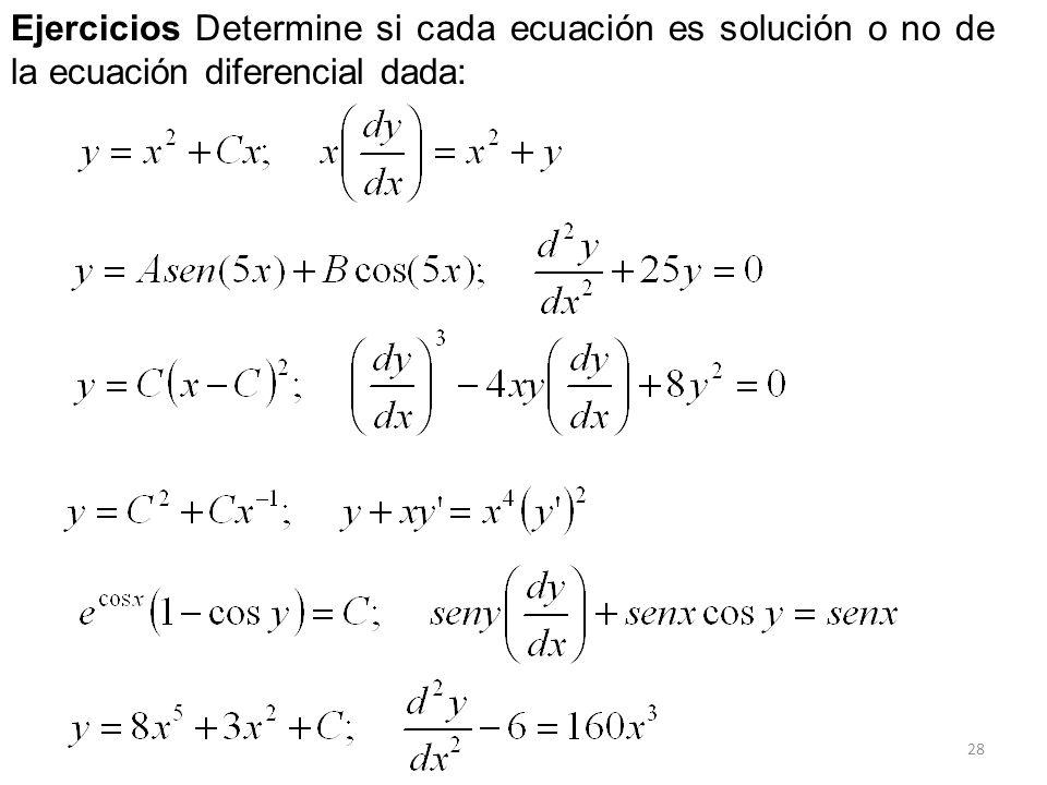Ejercicios Determine si cada ecuación es solución o no de la ecuación diferencial dada: