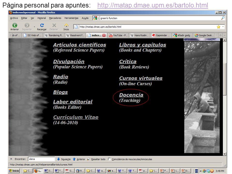Página personal para apuntes: http://matap.dmae.upm.es/bartolo.html