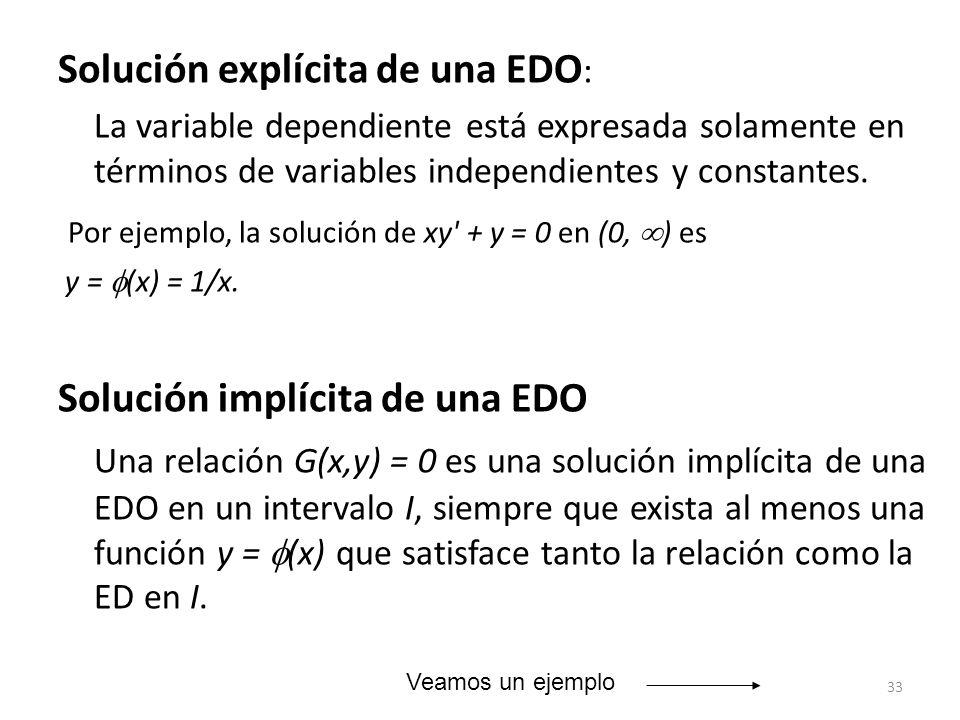 Solución explícita de una EDO: