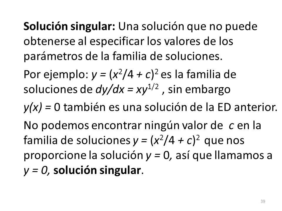 Solución singular: Una solución que no puede obtenerse al especificar los valores de los parámetros de la familia de soluciones.