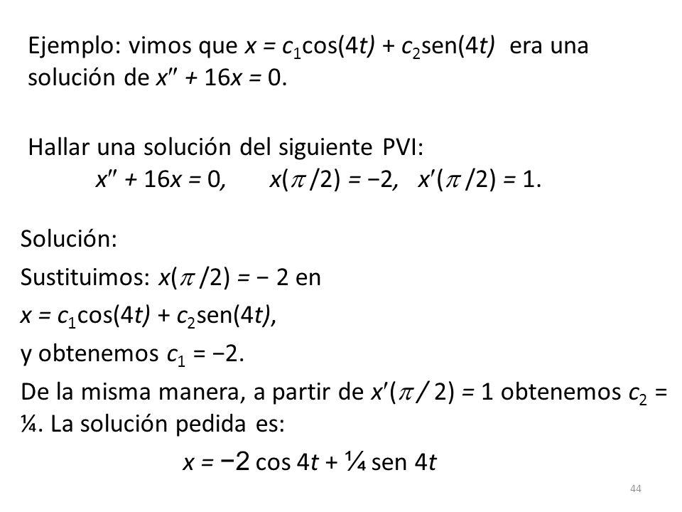 Ejemplo: vimos que x = c1cos(4t) + c2sen(4t) era una solución de x + 16x = 0.