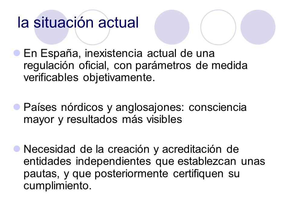 la situación actual En España, inexistencia actual de una regulación oficial, con parámetros de medida verificables objetivamente.
