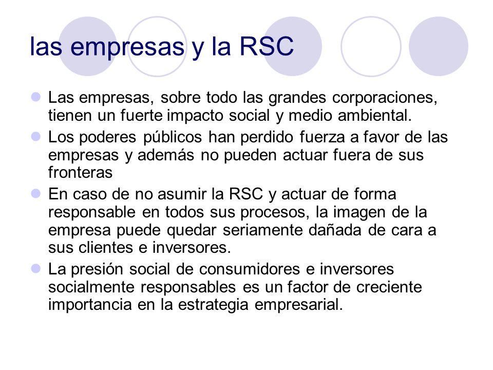 las empresas y la RSC Las empresas, sobre todo las grandes corporaciones, tienen un fuerte impacto social y medio ambiental.
