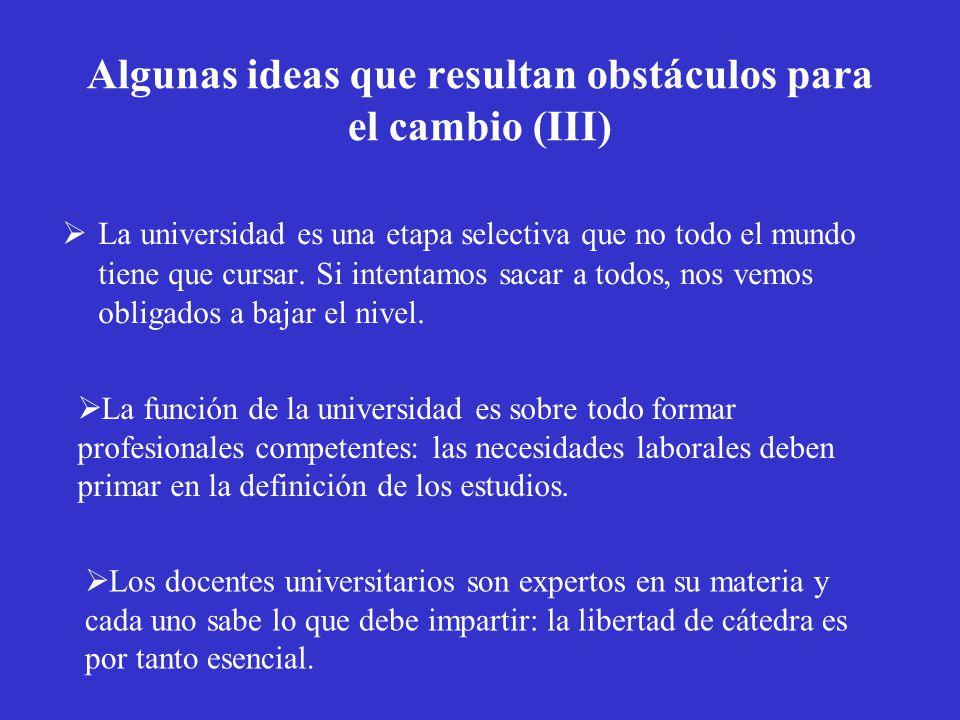 Algunas ideas que resultan obstáculos para el cambio (III)