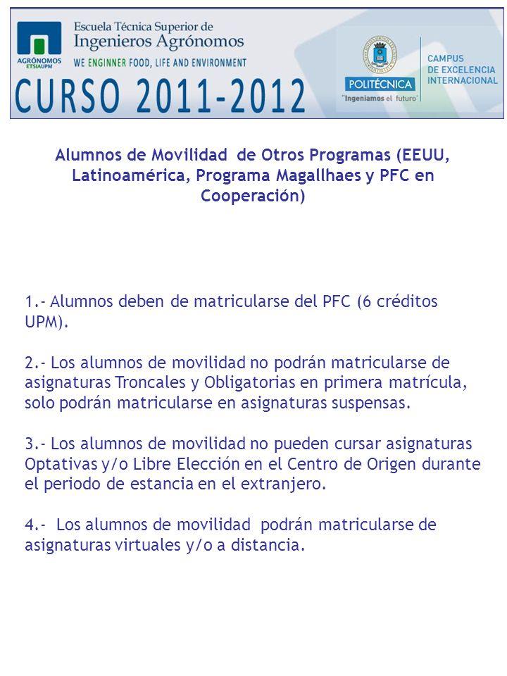 Alumnos de Movilidad de Otros Programas (EEUU, Latinoamérica, Programa Magallhaes y PFC en Cooperación)