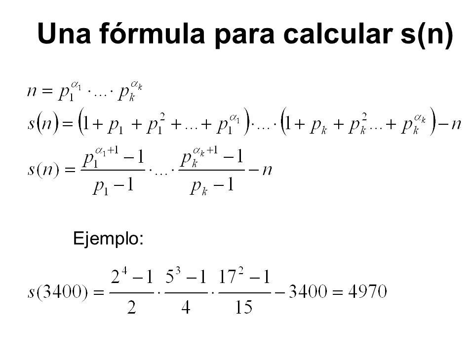 Una fórmula para calcular s(n)