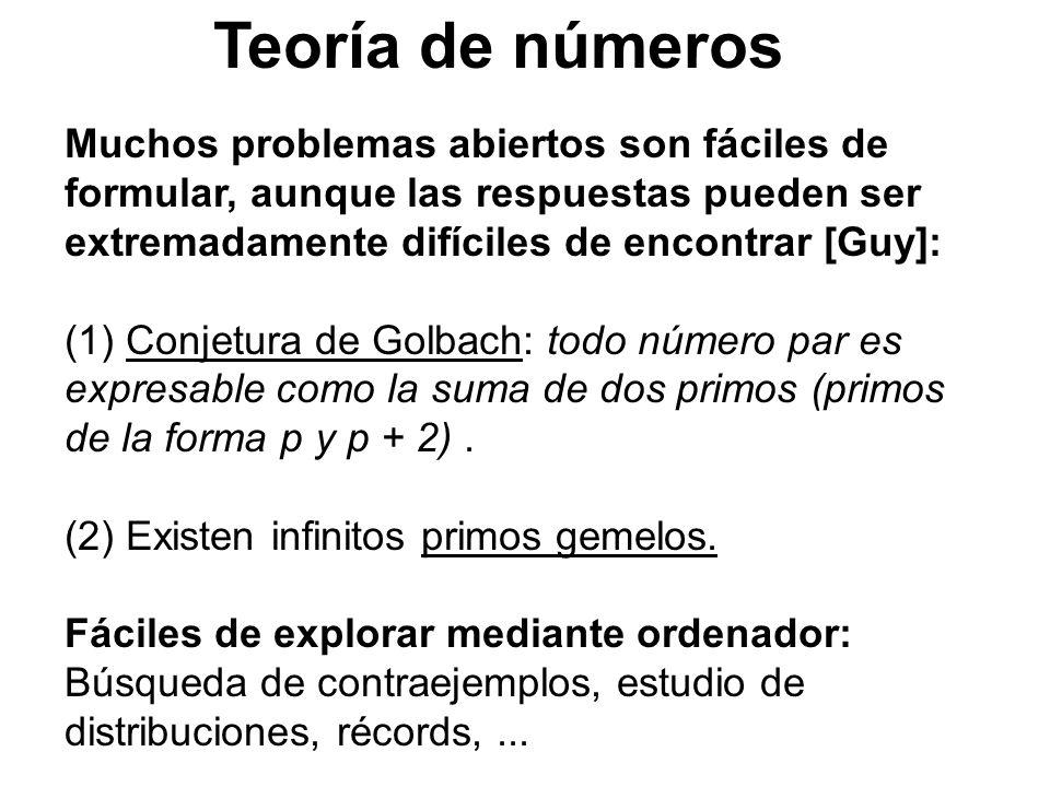 Teoría de números Muchos problemas abiertos son fáciles de