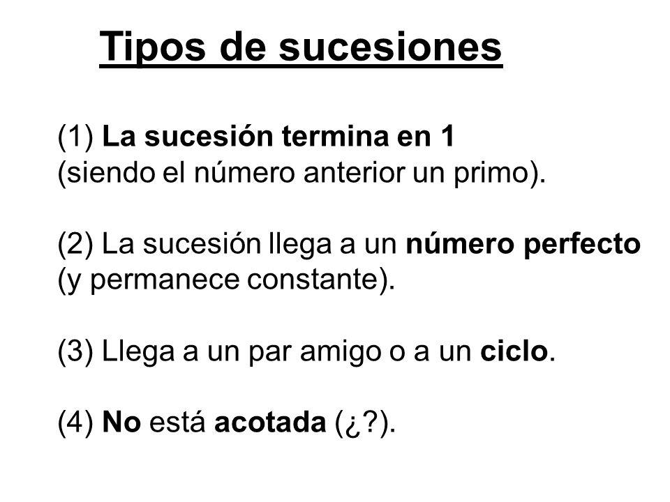 Tipos de sucesiones (1) La sucesión termina en 1